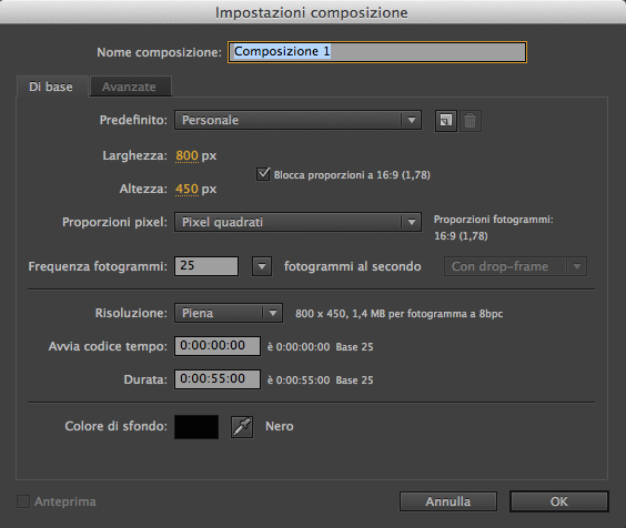 After Effects composizione