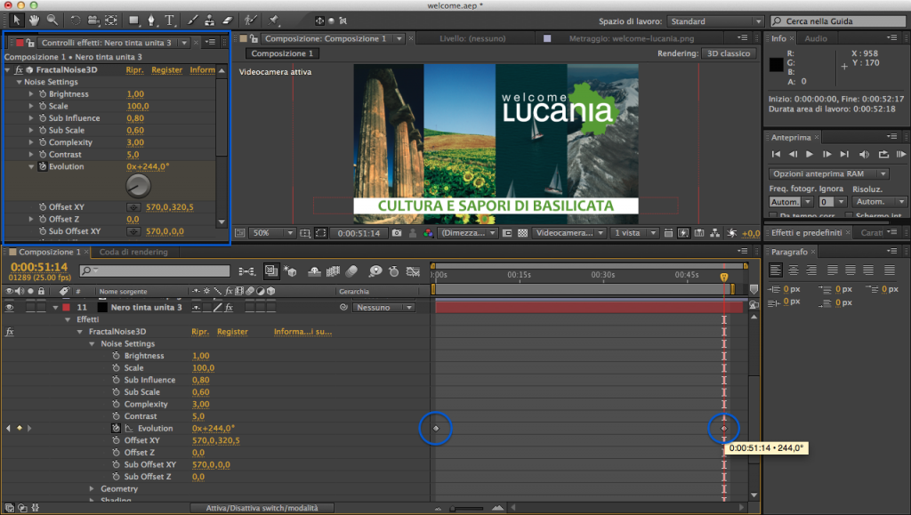 After effects cs6 effetto